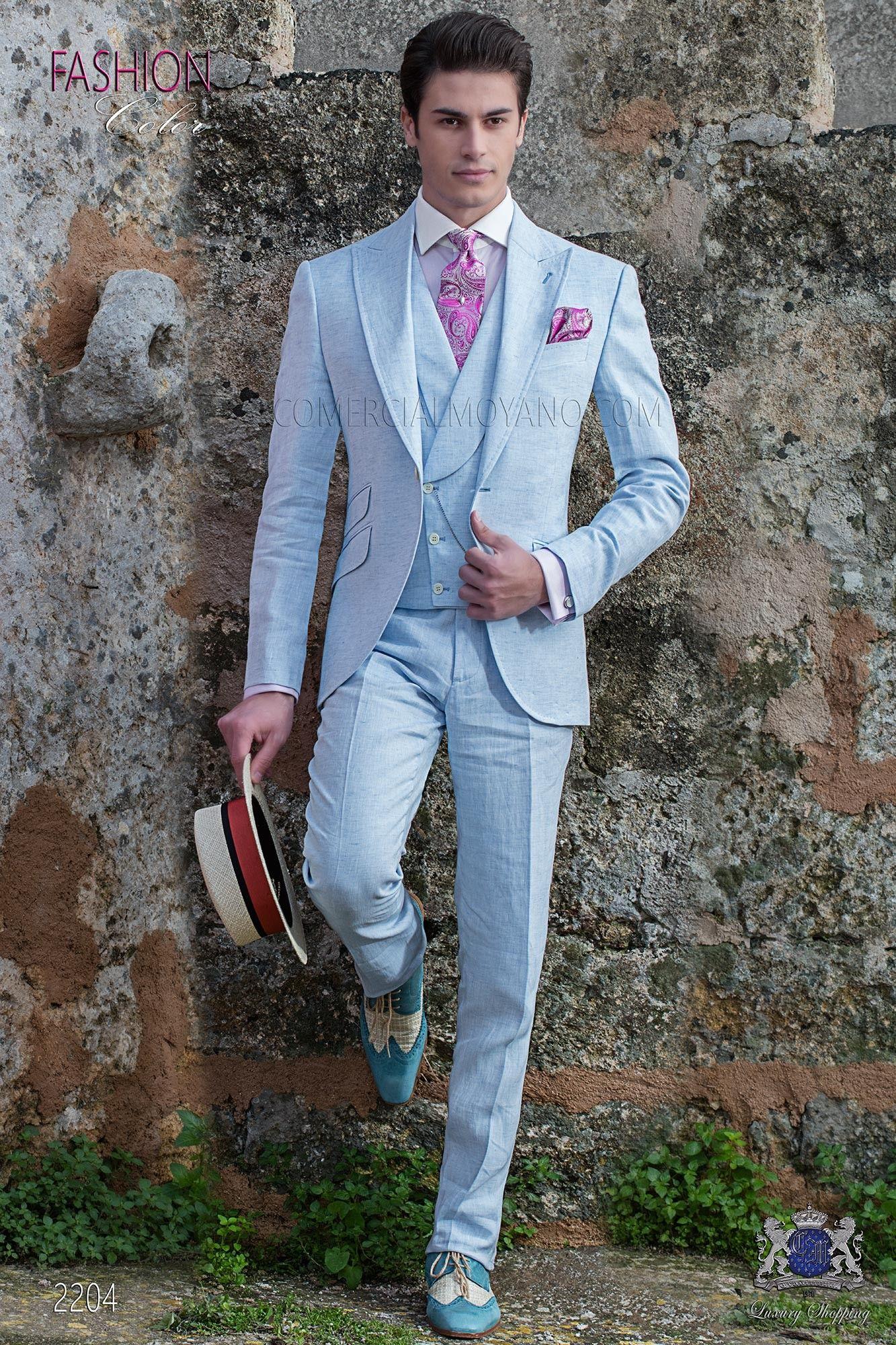 Traje de novio a medida azul claro de lino | Pinterest | Azul claro ...