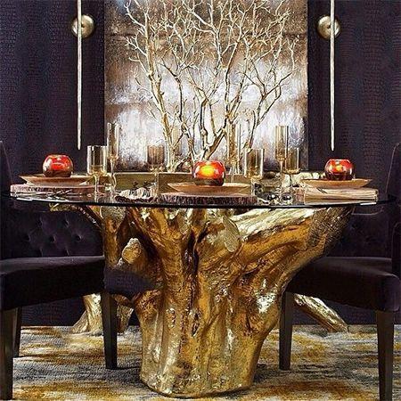 Gold Tree Stump Dining Table Decor Dining Room