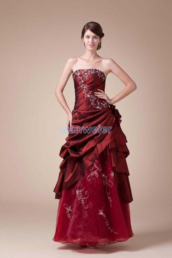 Strapless Ankle-Length A-line Taffeta Red Wedding Dress With Embroidery