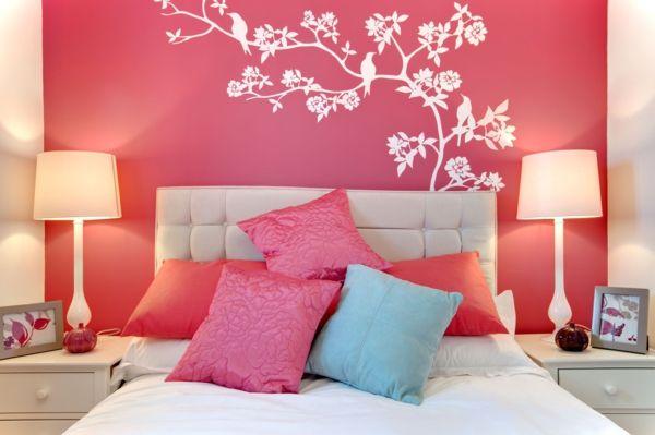 rosa schlafzimmer kopfkissen wandtattoo | schlafzimmer ideen ... - Schlafzimmer Ideen Pink