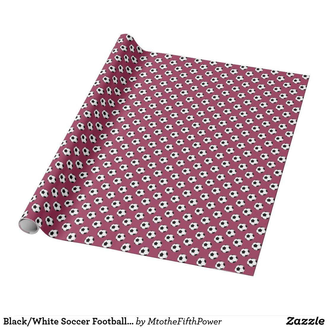 black white soccer football balls on sangria pink wrapping paper rh pinterest com