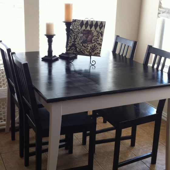 Refinished IKEA table used oil based paint 2 coats each