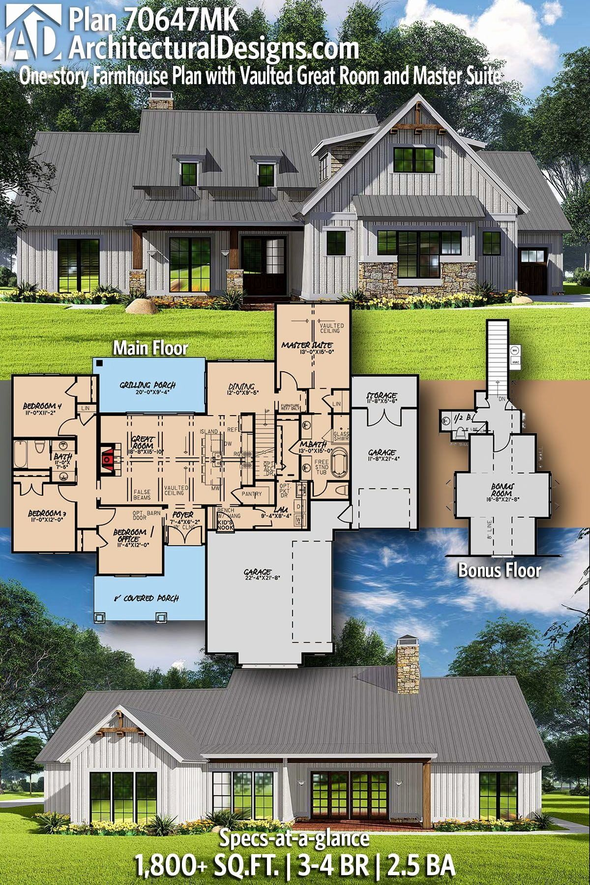 Adirondack Style House Plans Fresh Plan Mk E Story Farmhouse Plan With Vaulted Great House Plans Farmhouse Farmhouse Plans Country Style House Plans