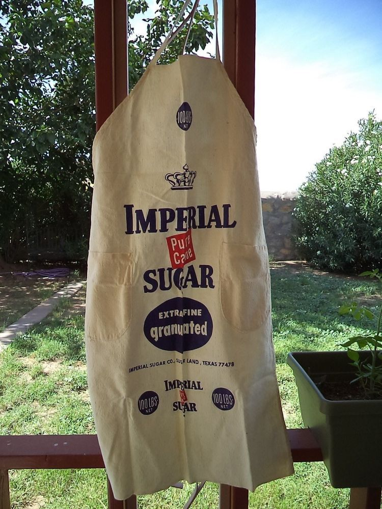 vintage imperial pure cane sugar apron  100 lbs net  sugar land  texas
