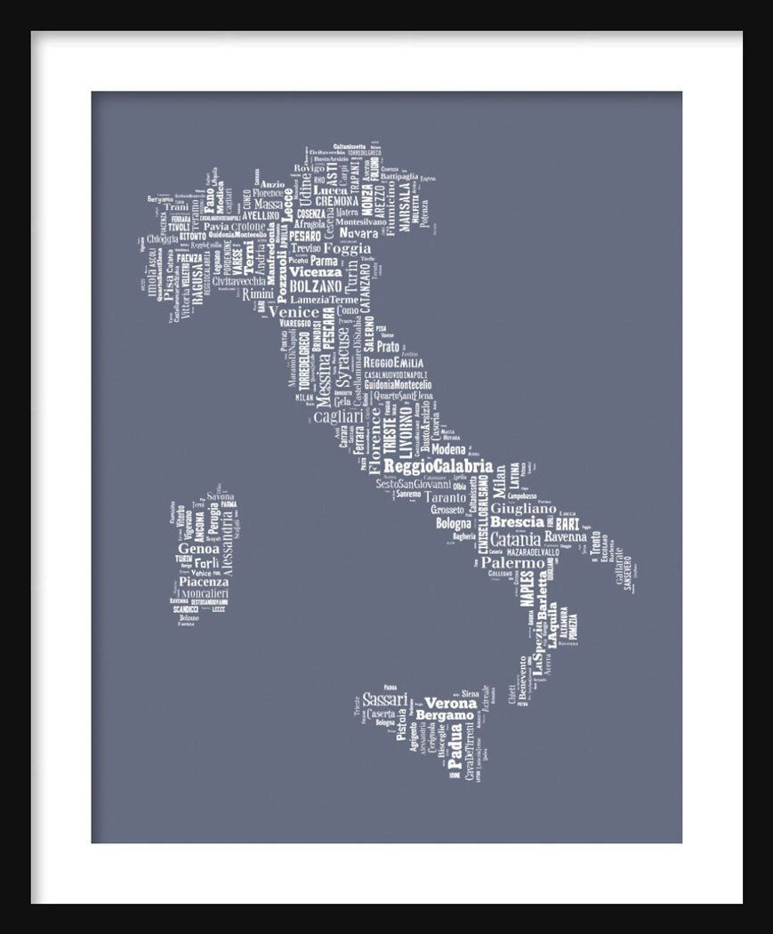 Italy Map Typography Color Poster Print Tyographical Text By ParisPhotoShop On Etsy