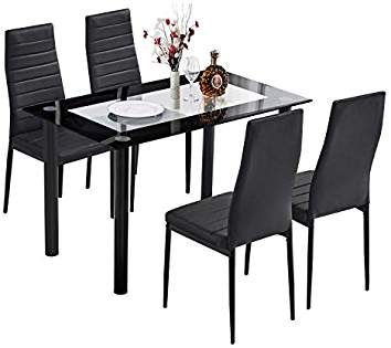 trustiwood 5 piece kitchen dining table set modern glass dinette set rh pinterest com