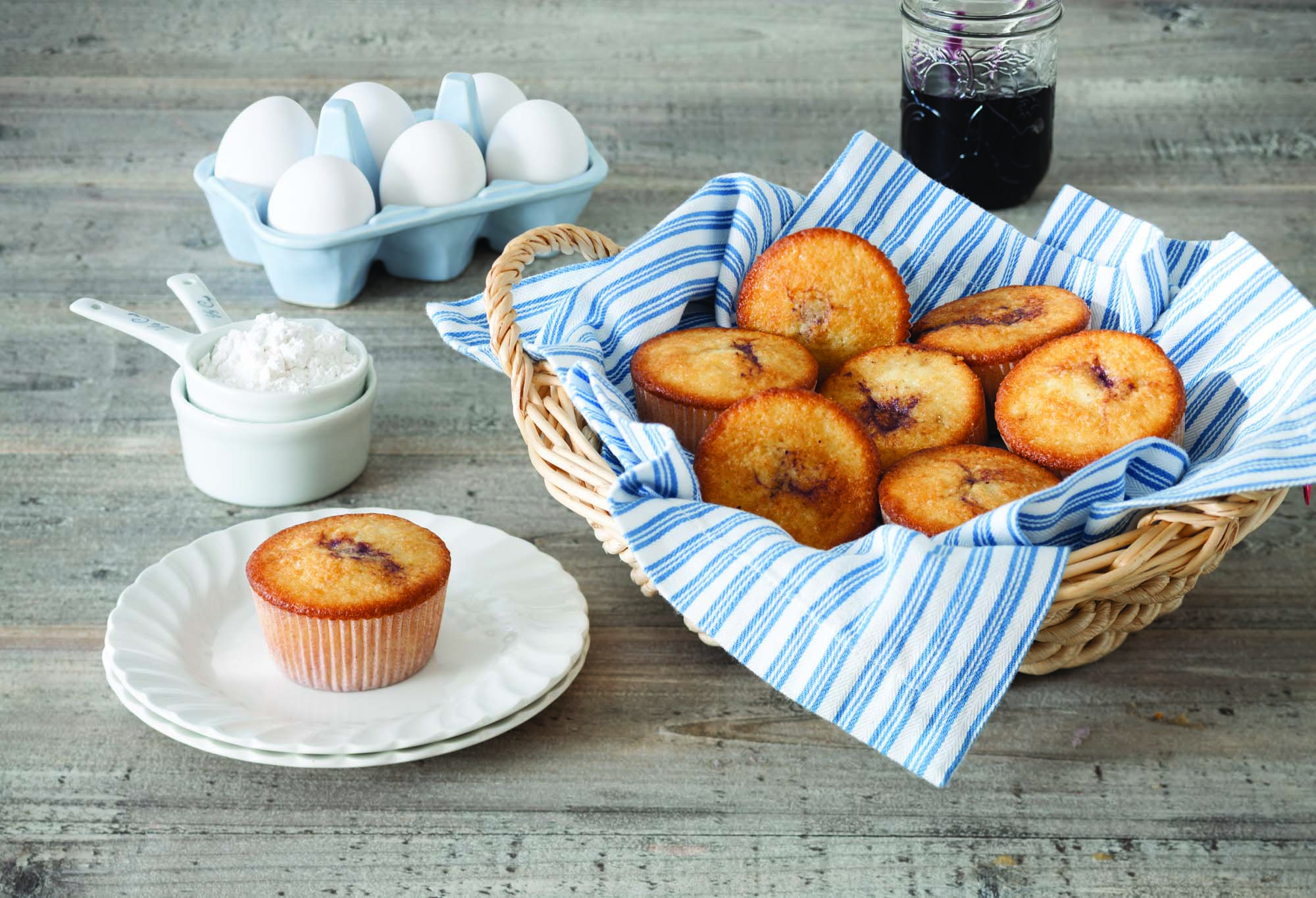 Blueberry jam muffins with images swans down cake