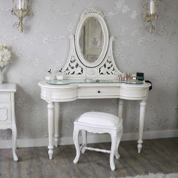 antique cream vintage dressing table mirror and stool set limoges rh pinterest com au