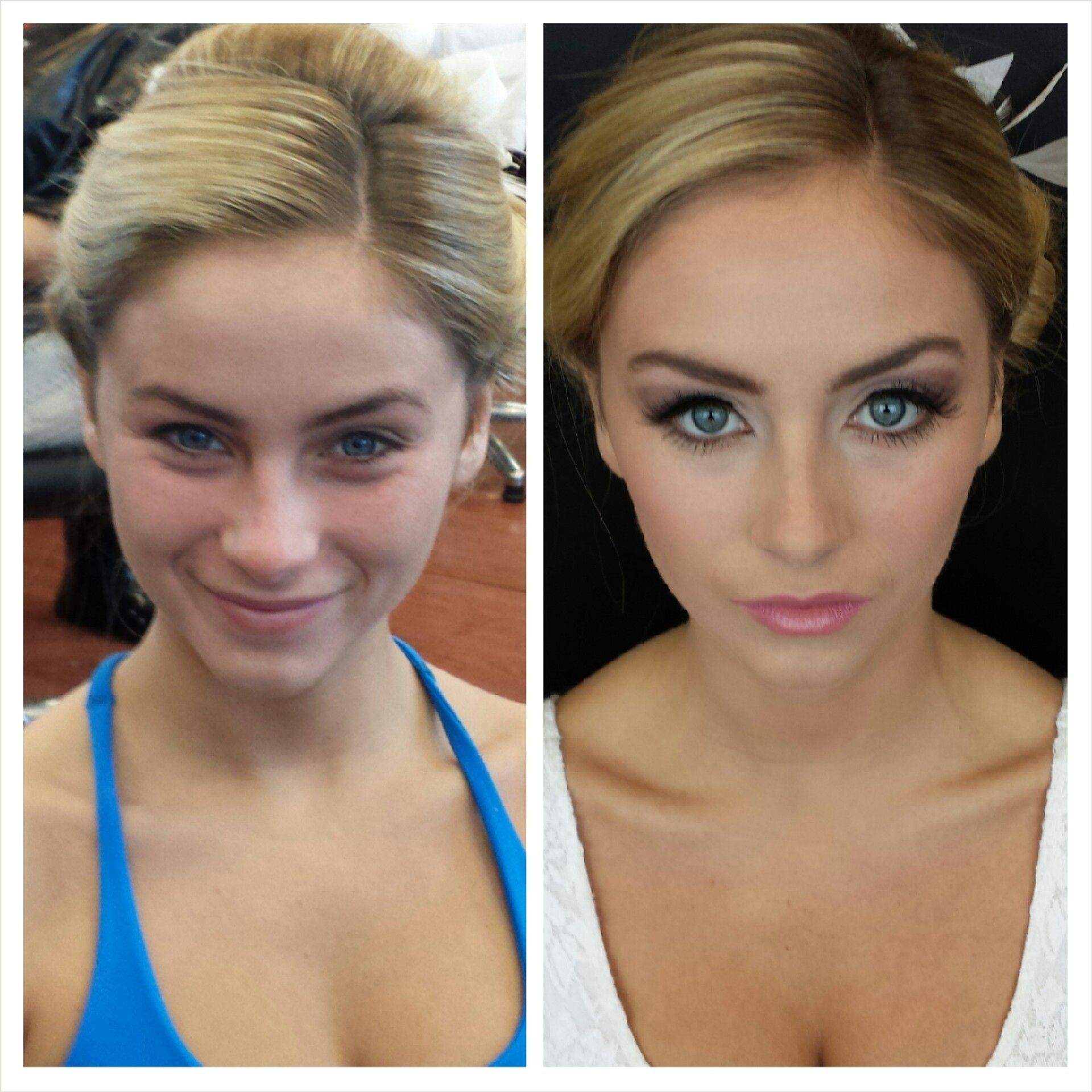 Before & After makeup application this morning for the