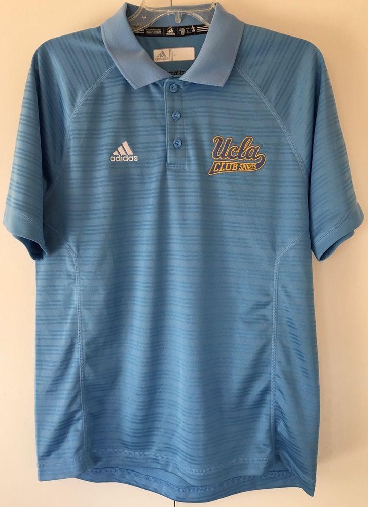 63480d33a Adidas Climalite UCLA BRUINS Polo Shirt Summer Golf Blue Gold Short Sleeve  Small