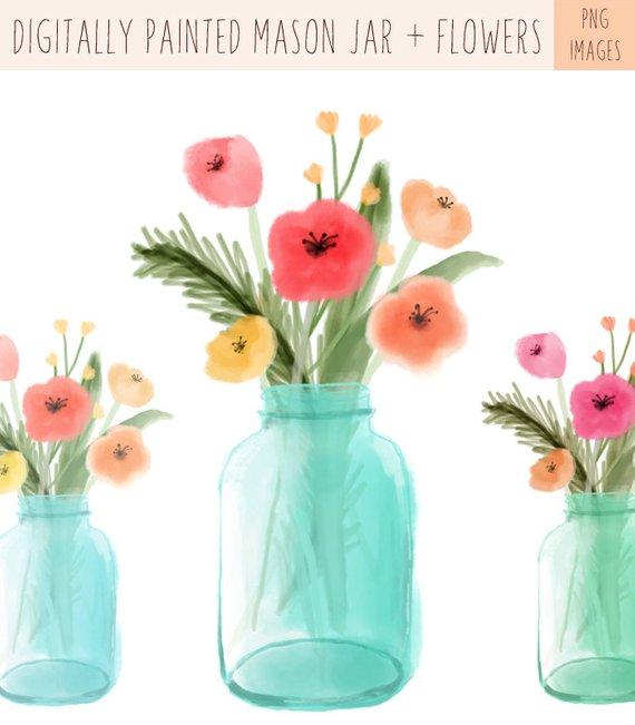 Digitally Painted Mason Jar Clip Art And Digitally Painted Flower