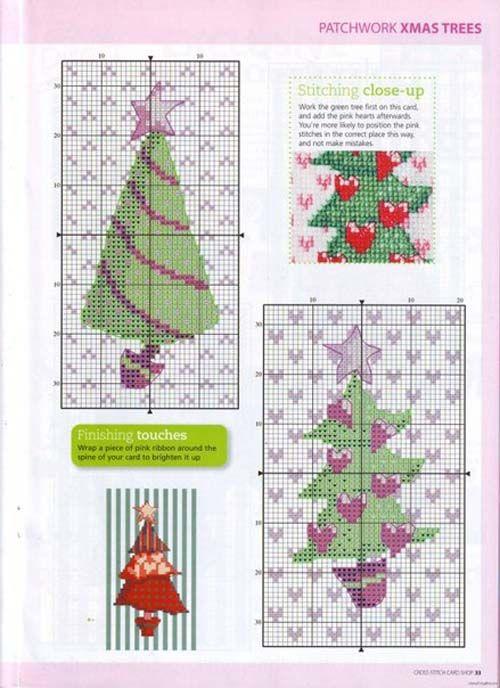 Patrones para arboles navideños en punto de cruz | punto de cruz ...