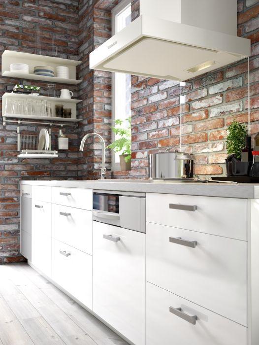 metod keuken ikea metod keuken wit baksteen modern kitchen rh pinterest com