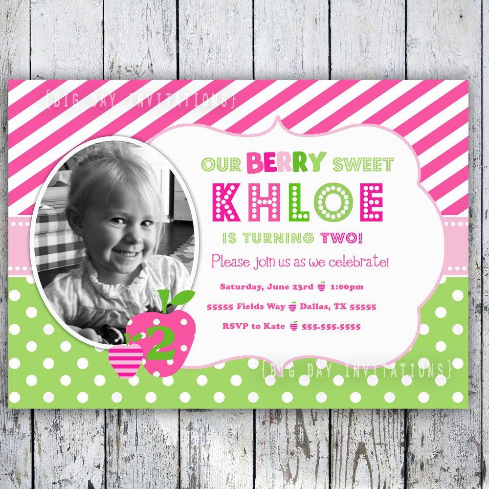 Strawberry Custom Birthday Invitation - Printable Invite 1st ...