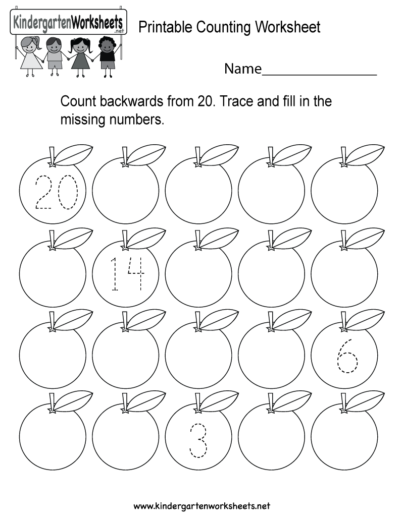 image about Printable Counting Worksheets named This is a backward counting worksheet for kindergarteners
