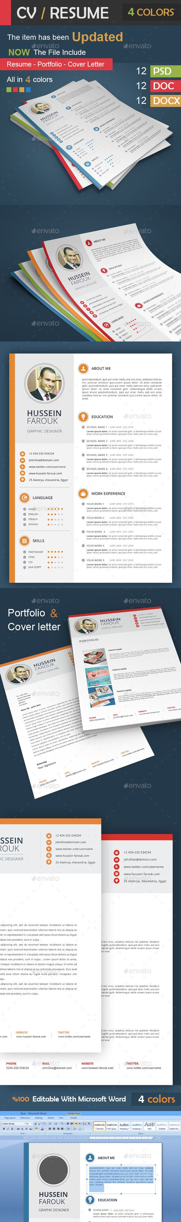 graphic design resume template%0A CV   Resume  Portfolio  Cover Letter