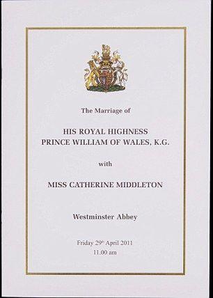 Kate Middleton The Official Royal Wedding Program