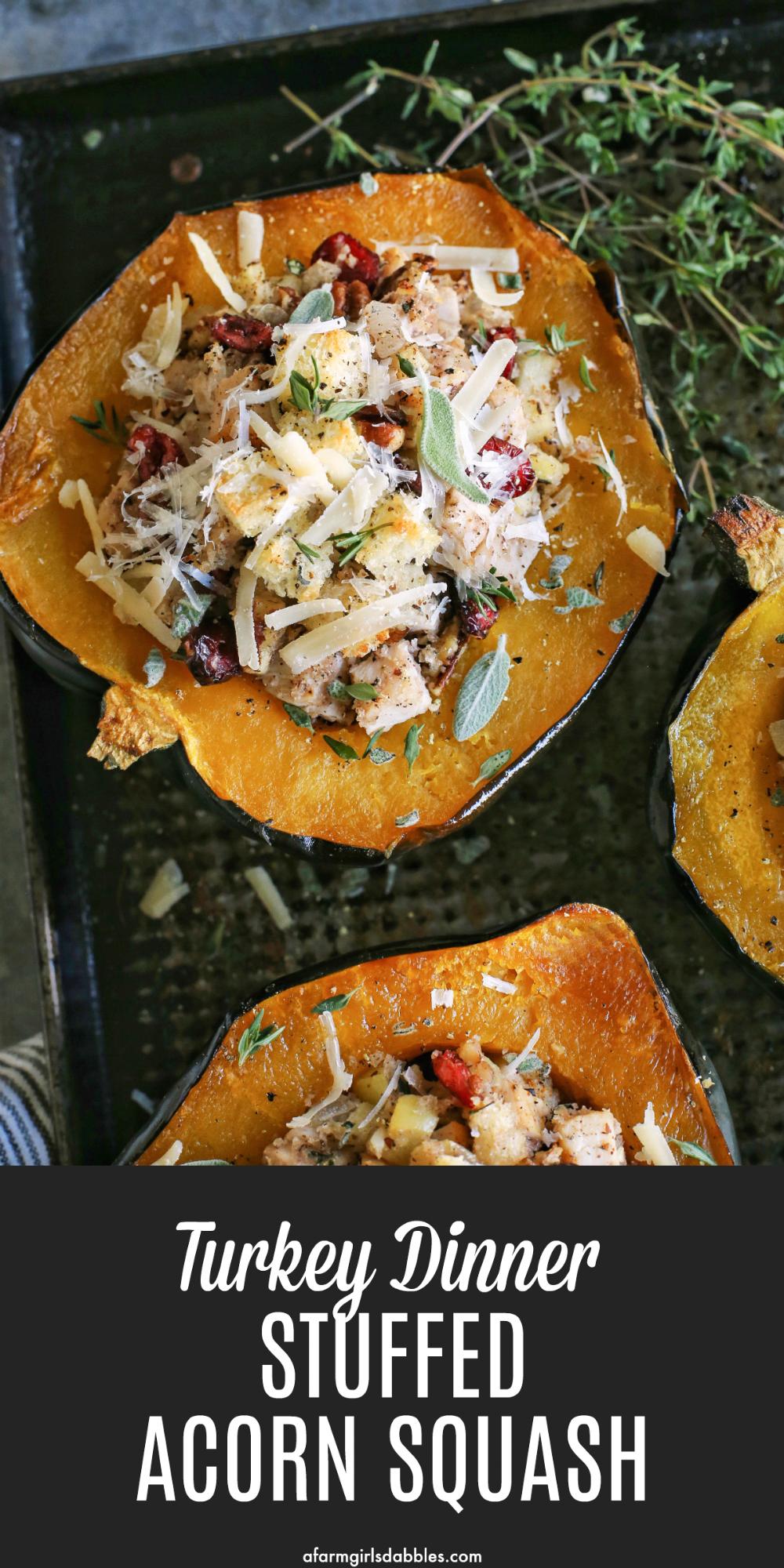 Turkey Dinner Stuffed Acorn Squash Recipe Food recipes