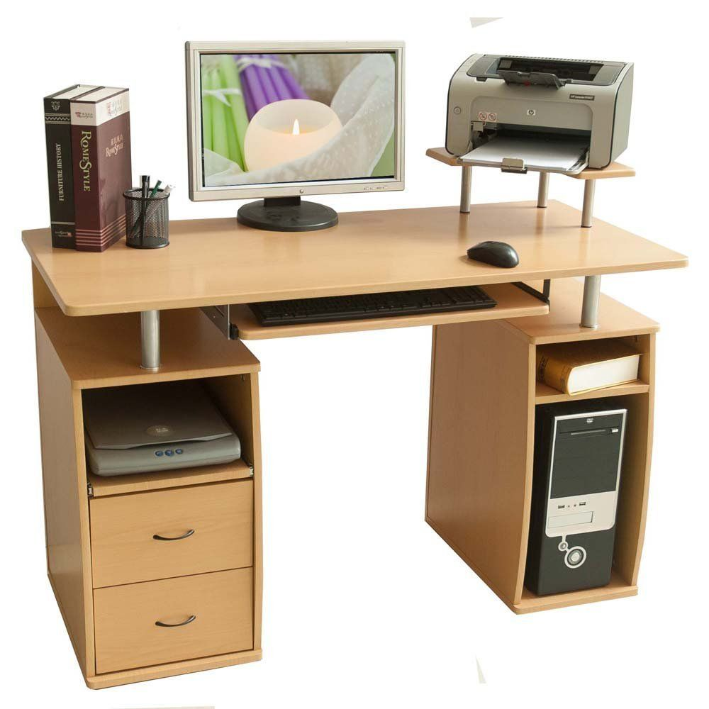 merax essential home office computer desk with pull out keyboard rh pinterest com