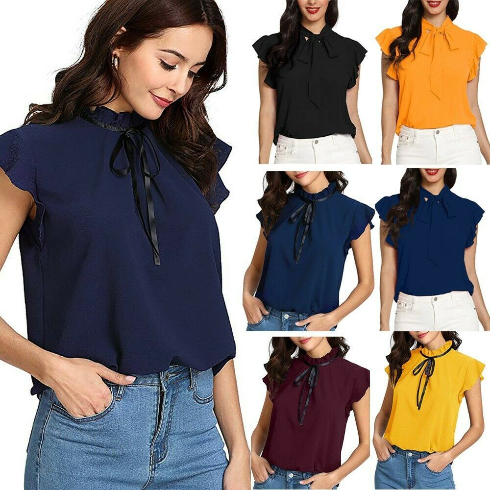 234b5e849bf Women's Multicolor Casual Cap Sleeve Bow Tie T-Shirt Solid Chiffon Blouse  Tops #Unbranded