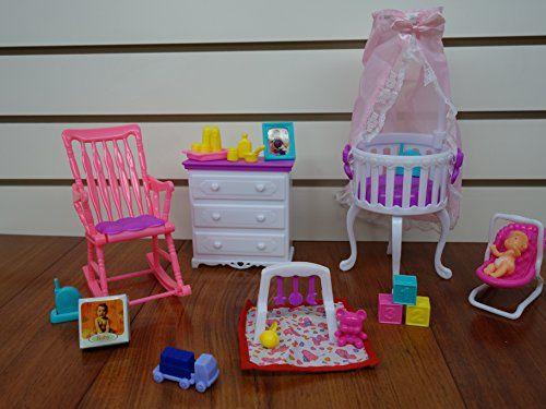 Barbie Size Dollhouse Furniture Gloria Baby Home Nursery Set