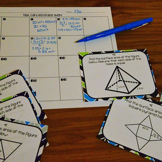 Surface Area Of Pyramids Prisms Task Cards Math