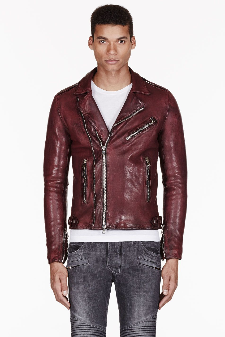 ee5c8b3c3627 Balmain Burgundy Leather Biker Jacket in Red for Men (burgundy ...