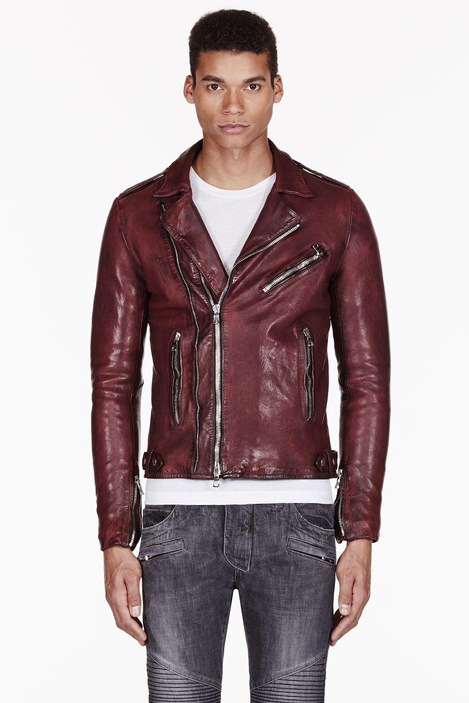 World Of Leather Mens Lambskin Biker Leather Jacket Moto Burgundy