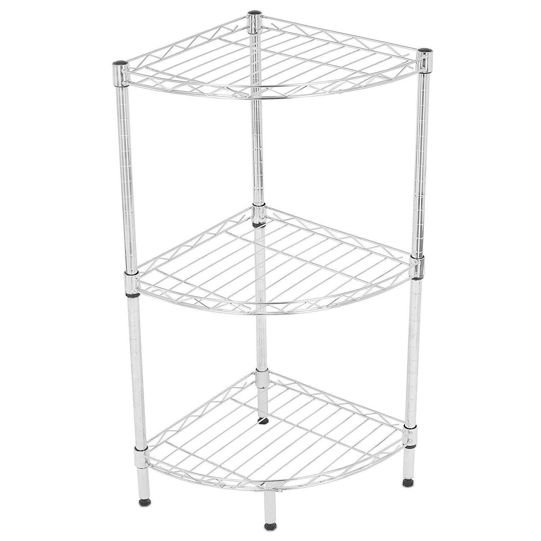 Internet\'s Best 3-Tier Corner Wire Shelving (Chrome Heavy Duty Shelf ...