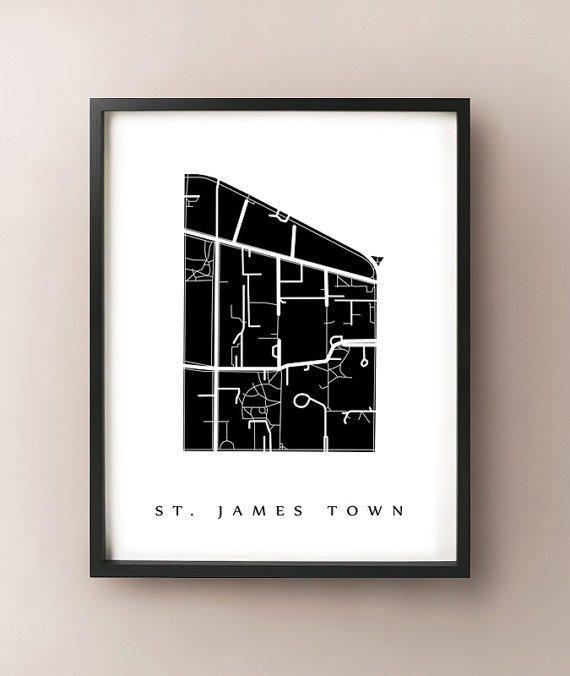 St. James Town Map - Toronto Neighbourhood Art Print