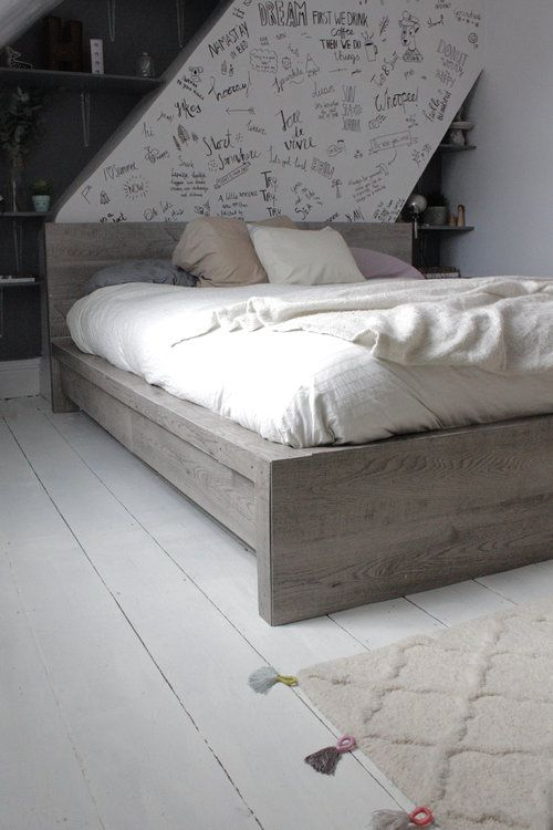 sep 30 ikea hack rustic look for a malm bedframe house ikea bed rh pinterest co uk