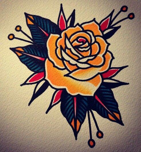 4b33a13ef3c1f traditional #rose #tattoo … | Tattoos | Tatto…