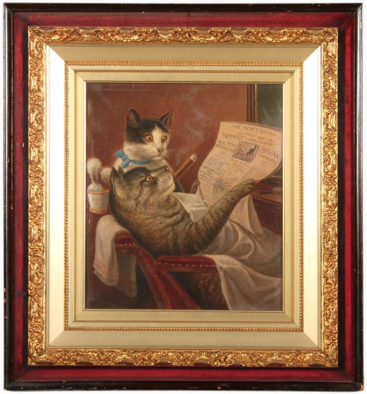 """Barber Shop Felines, 1900"" By the time William De La"
