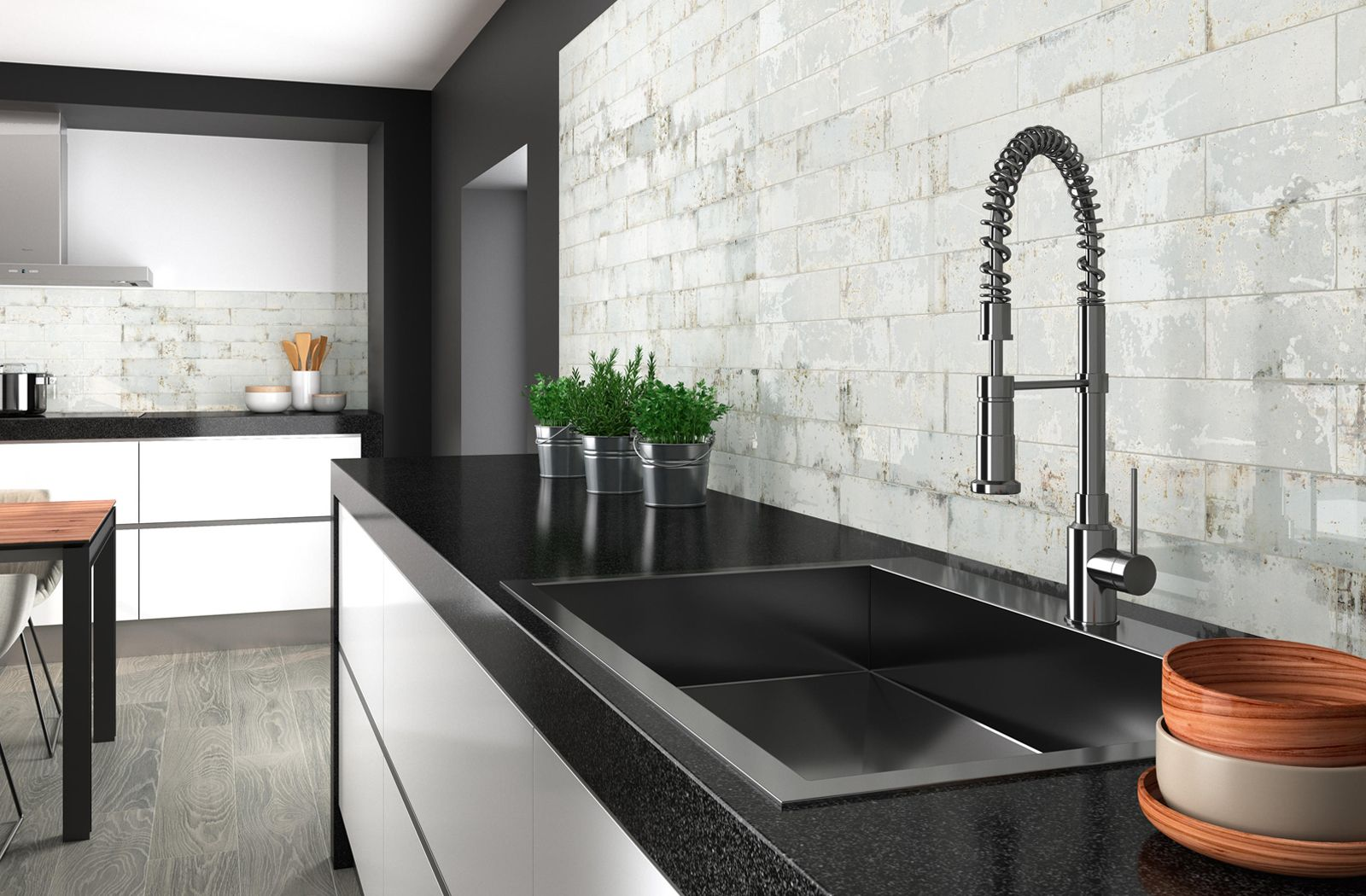 Modern industrial kitchen with Grunge wall tiles