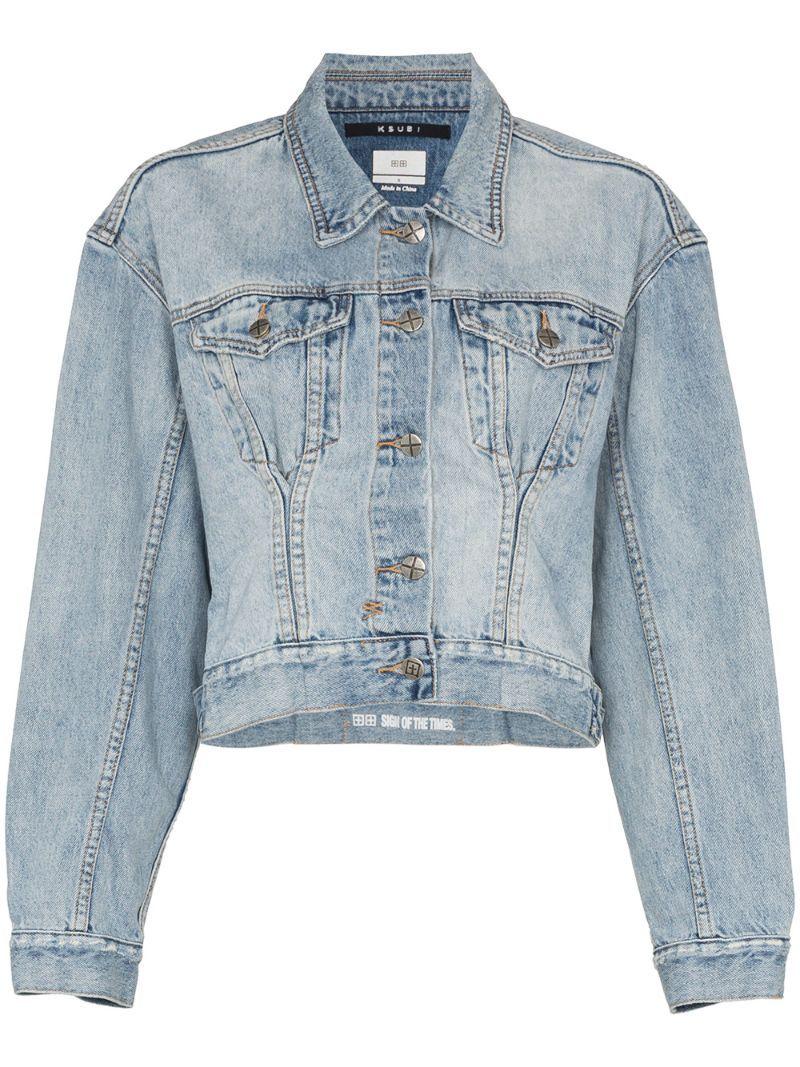 Ksubi X Kendall Jenner Karma Cropped Denim Jacket Farfetch In 2020 Cropped Denim Cropped Denim Jacket Denim Jacket Women [ 1067 x 800 Pixel ]
