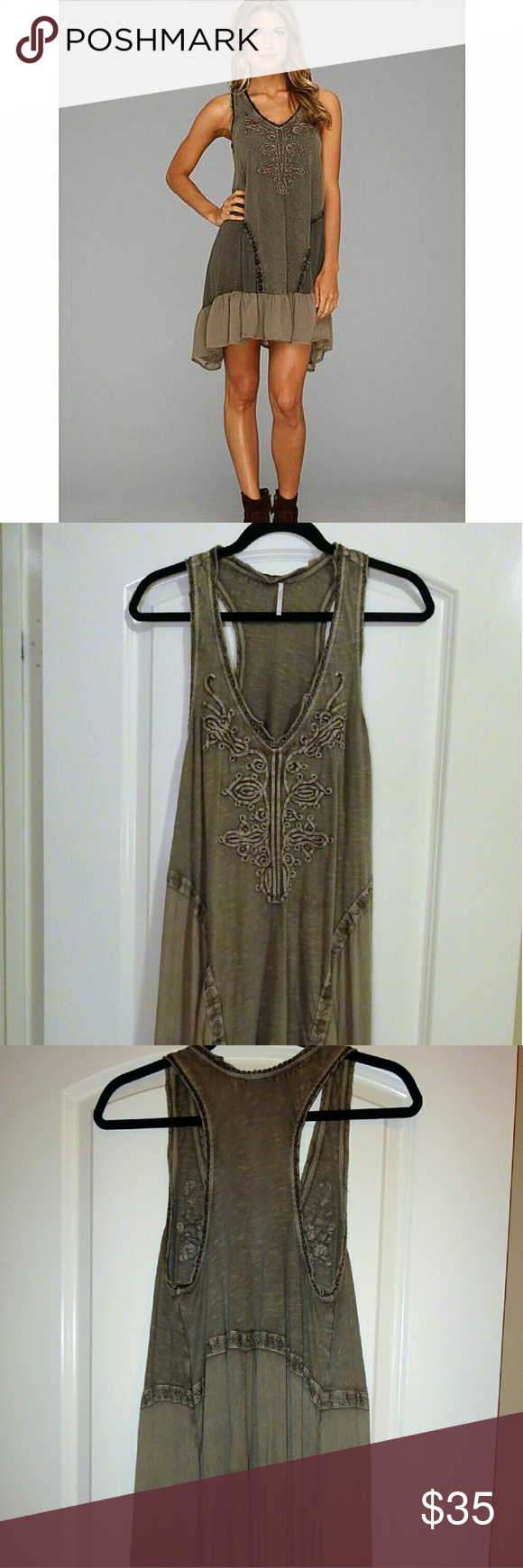 Free People olive green sundress Free People olive green cotton razer back tanktop dress with embroidery and beaded detail on front and ruffle trim at bottom. Super lightweight and comfortable - perfect for summer music festivals. Selling because I lost weight and it no longer fits. Free People Dresses Mini
