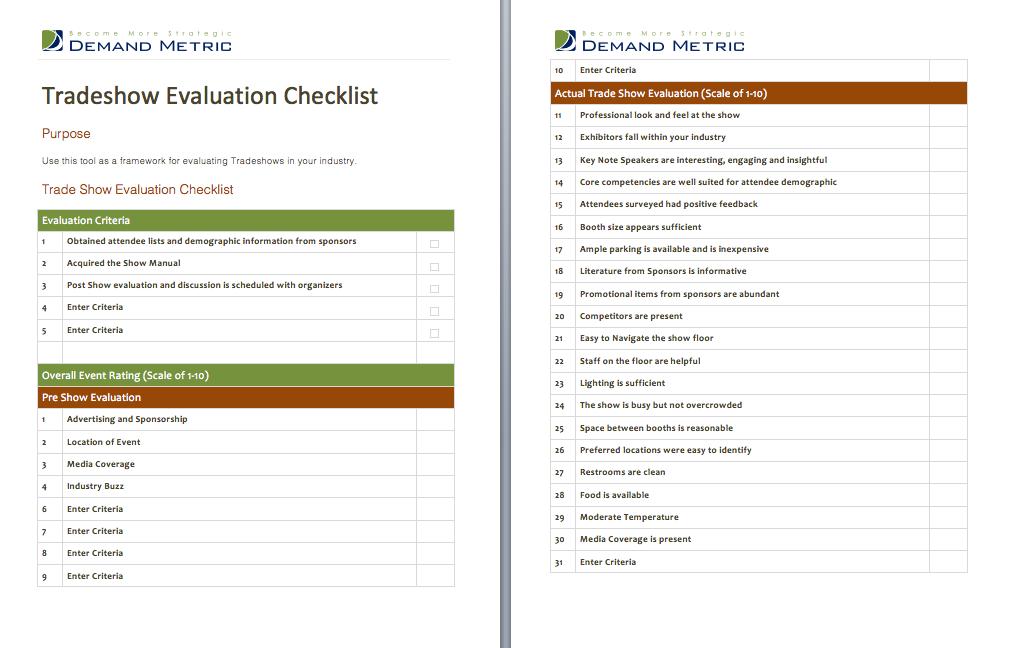 Tradeshow Evaluation Checklist  A Checklist To Evaluate