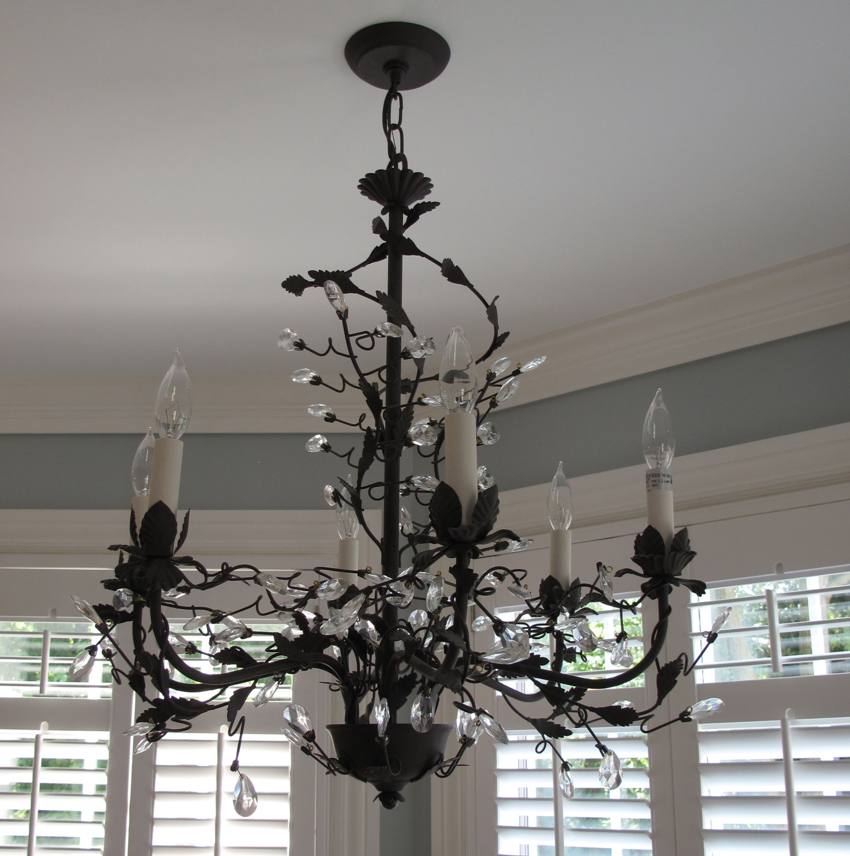 pictures to hang in master bathroom%0A This antique crystal chandelier is hanging above the Jacuzzi in the master  bath  www