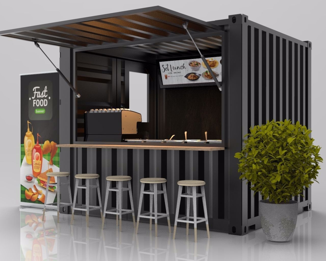 3d 10ft Container Kiosk Cgtrader In 2020 Cafe Shop Design Container Cafe Container Coffee Shop