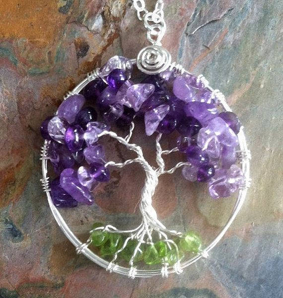 Mothers Day Gifts Amethyst Necklace,Amethyst Tree of Life Necklace Pendant Sterling Silver Chain-Wired Tree of life-February Birthstone