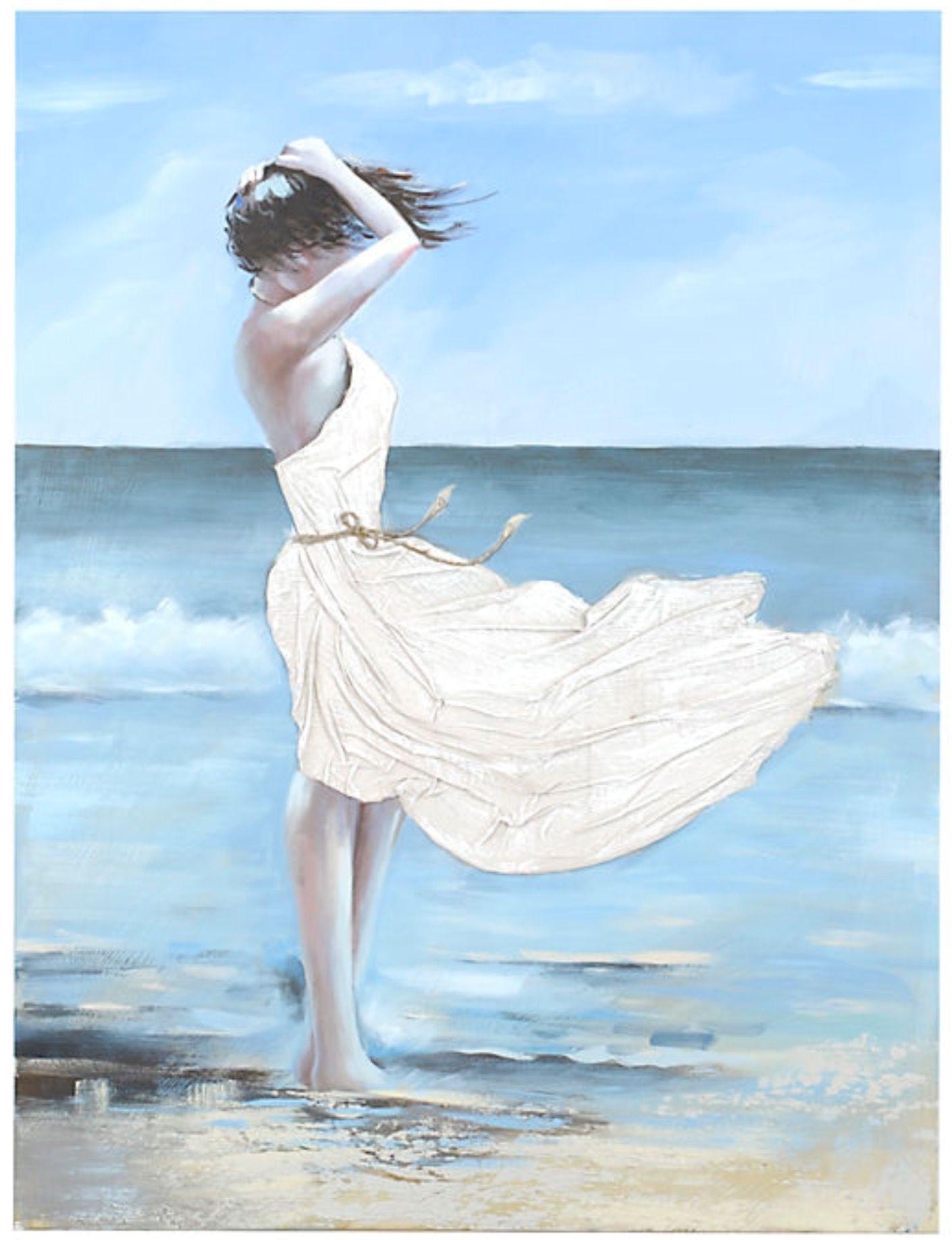 Girl On A Windy Beach Canvas Art With Images Beach Canvas Art
