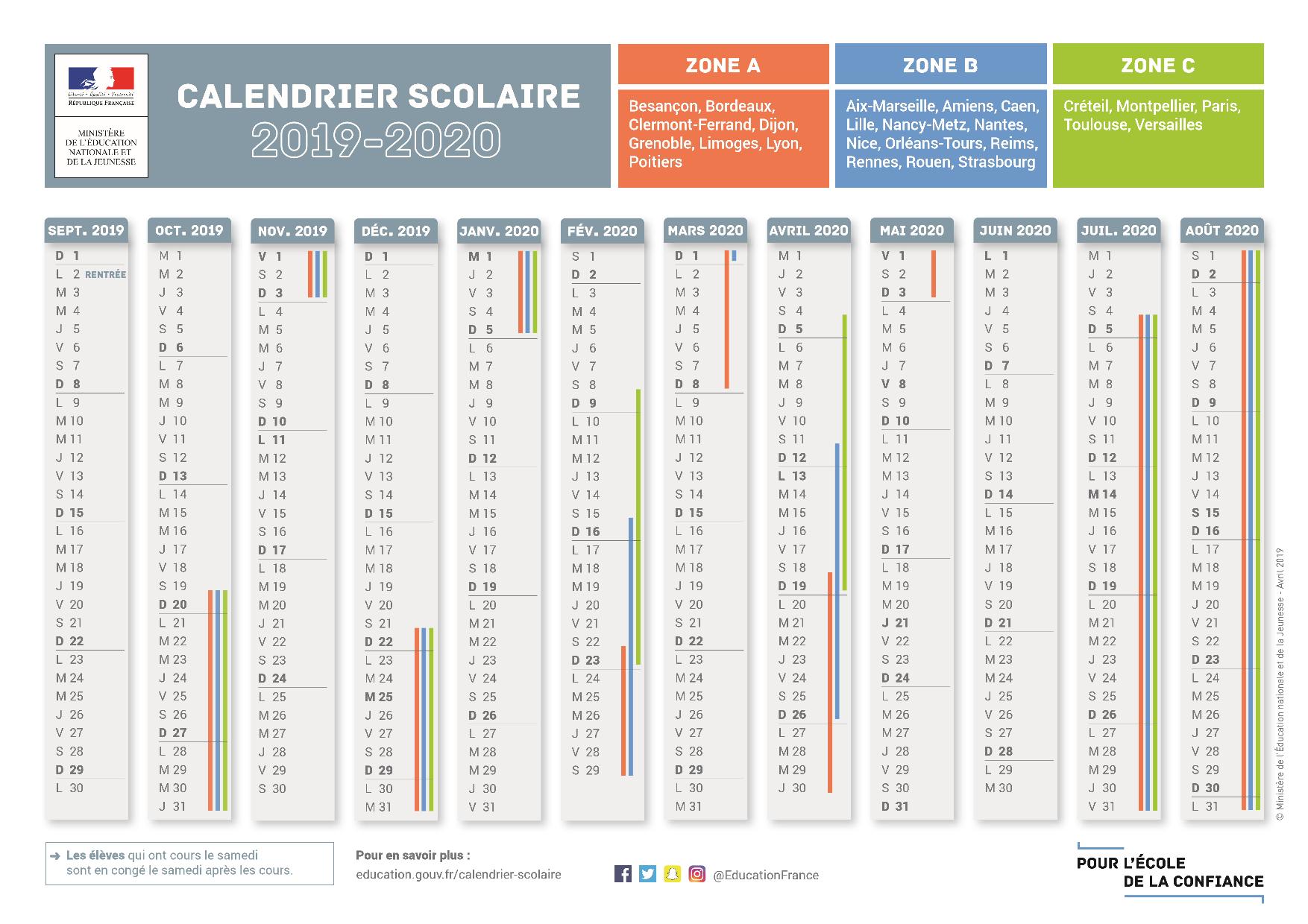 Calendrier 2020 Et 2019.Le Calendrier Scolaire Officiel Pour L Annee 2019 2020
