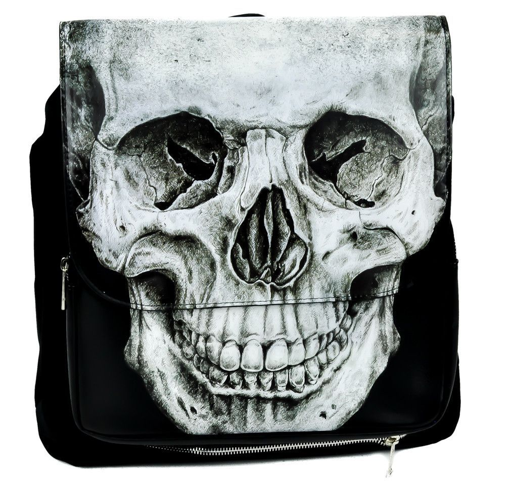 The backpack is made of durable synthetic material with faux leather decoration. Flap and lower pocket are decorated with very detailed skull print. At the bottom is additional zippered compartment. T