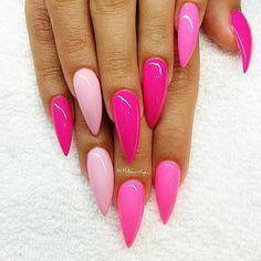 Hot Pink Stiletto Nails Pink Stiletto Nails Pink Nails Gel Nails