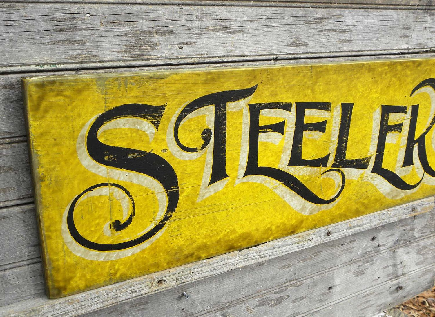 Pittsburgh steelers sign original hand painted faux vintage bar