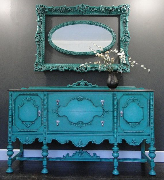 Antique Buffet Sideboard Entry Table Aqua Teal By TRWpainted