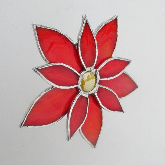 Poinsettia Stained Glass Christmas Ornament or Home Decor Suncatcher