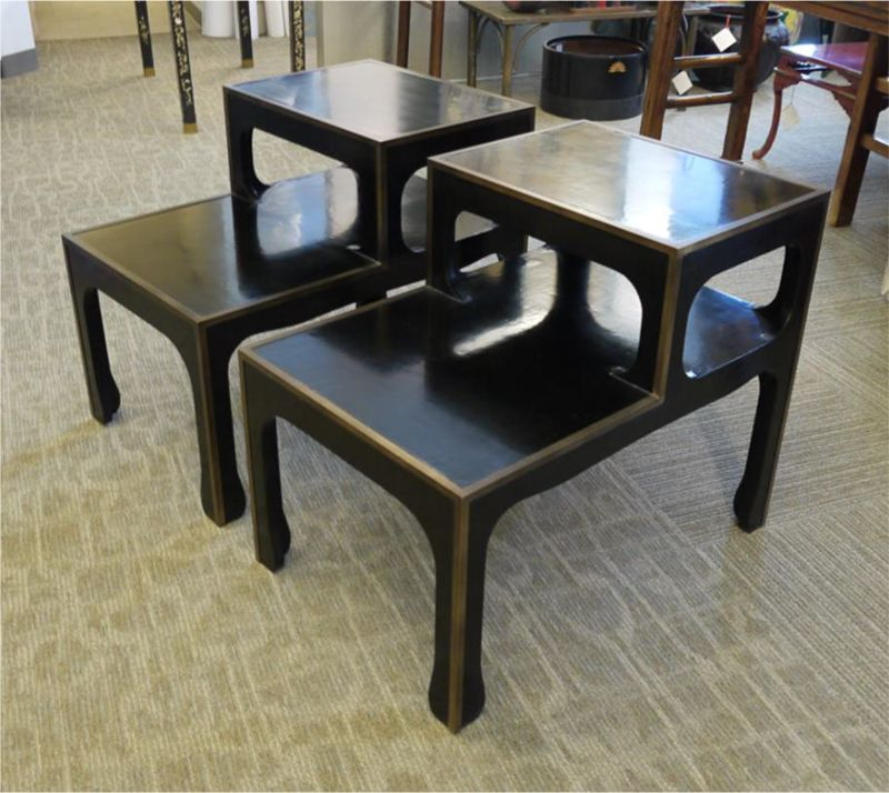 Pair Of Ming Style Side Tables With Black Canvas Cashew Lacquer And  Antiqued Brass Edging.