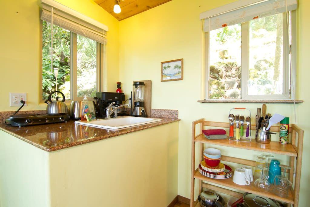 green treehouse inside kitchen