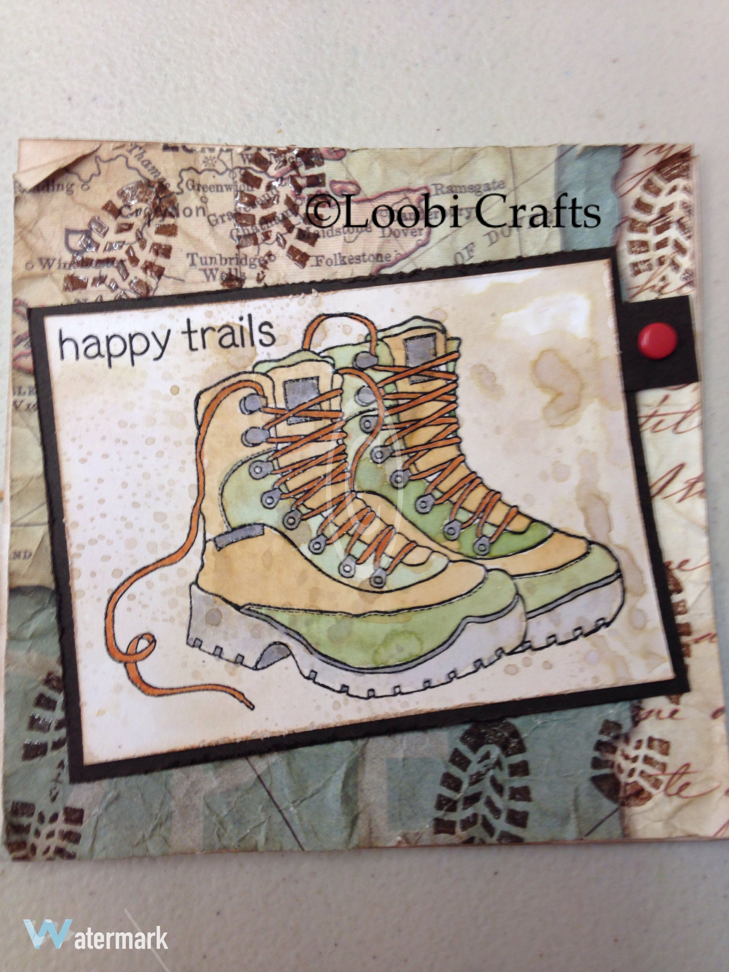 Loobicrafts Woodware Walking Hiking Boots Stamp